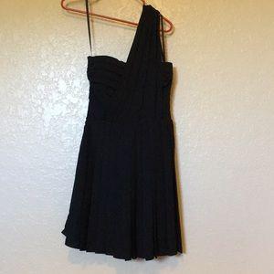 Rachel Roy Black One-Shoulder Pleated Dress